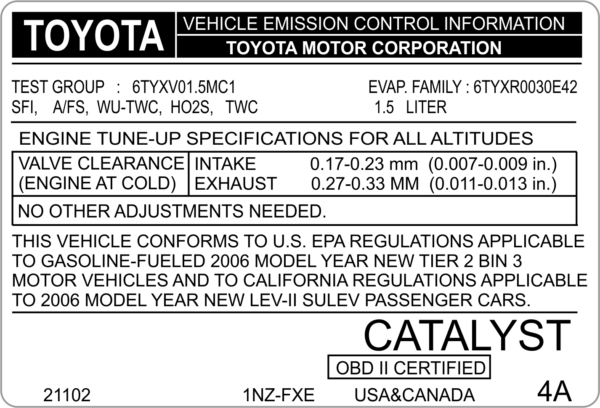 replacement emission control vin labels