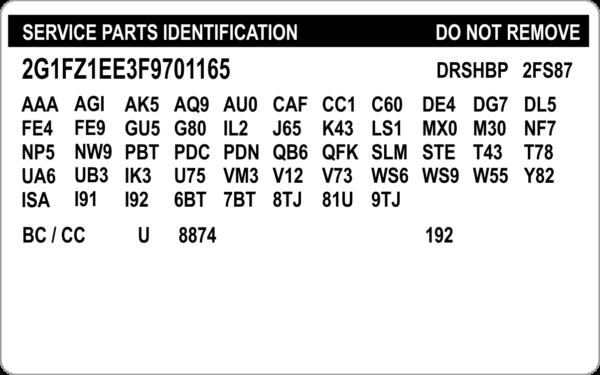 replacement service parts vin label