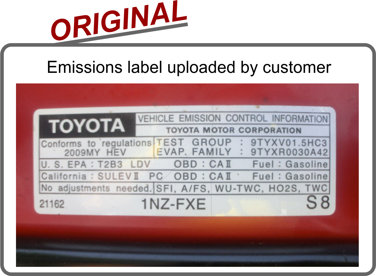 Vehicle emission conntrol replacement label
