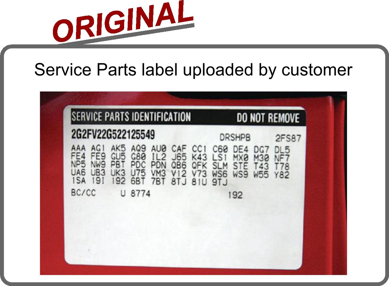 Service parts replacement vin label