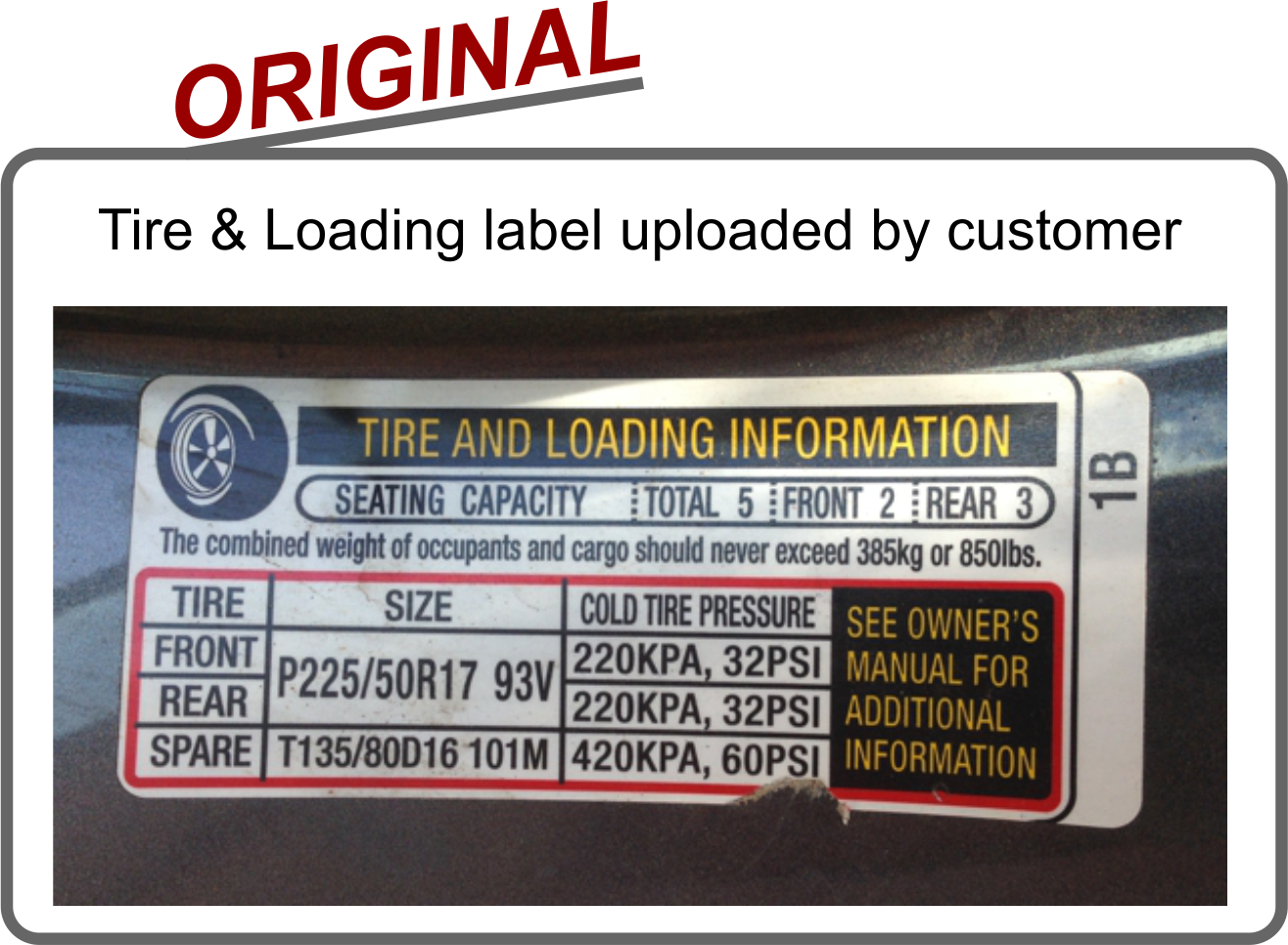 Tire and loading information replacement vin label