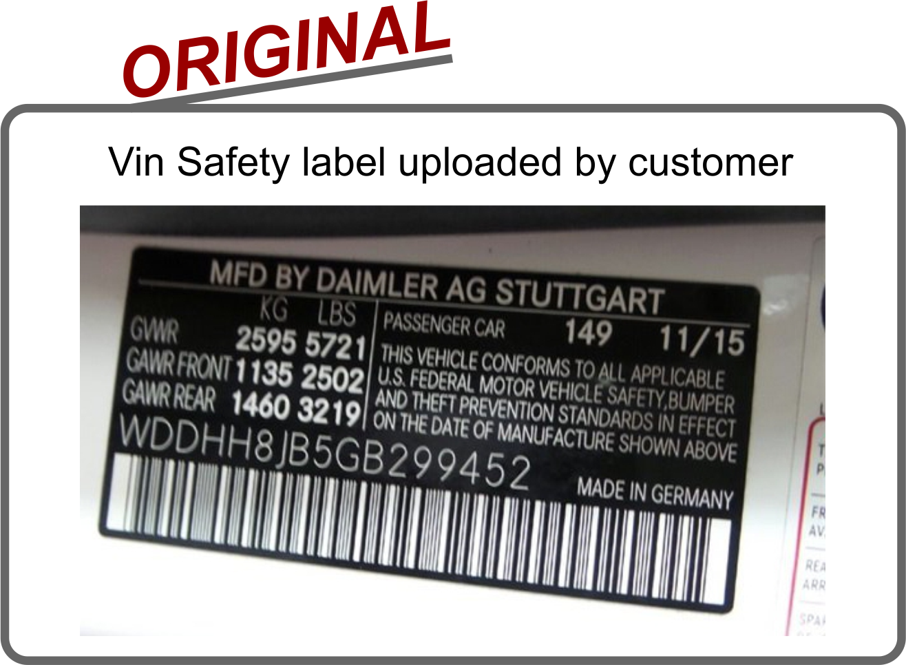 Safety certification replacement vin label