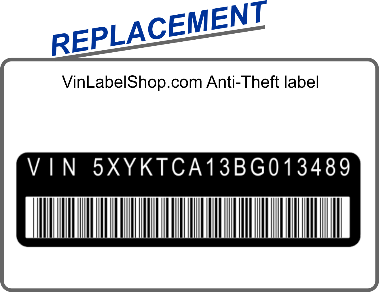 Replacement anti-theft vin label