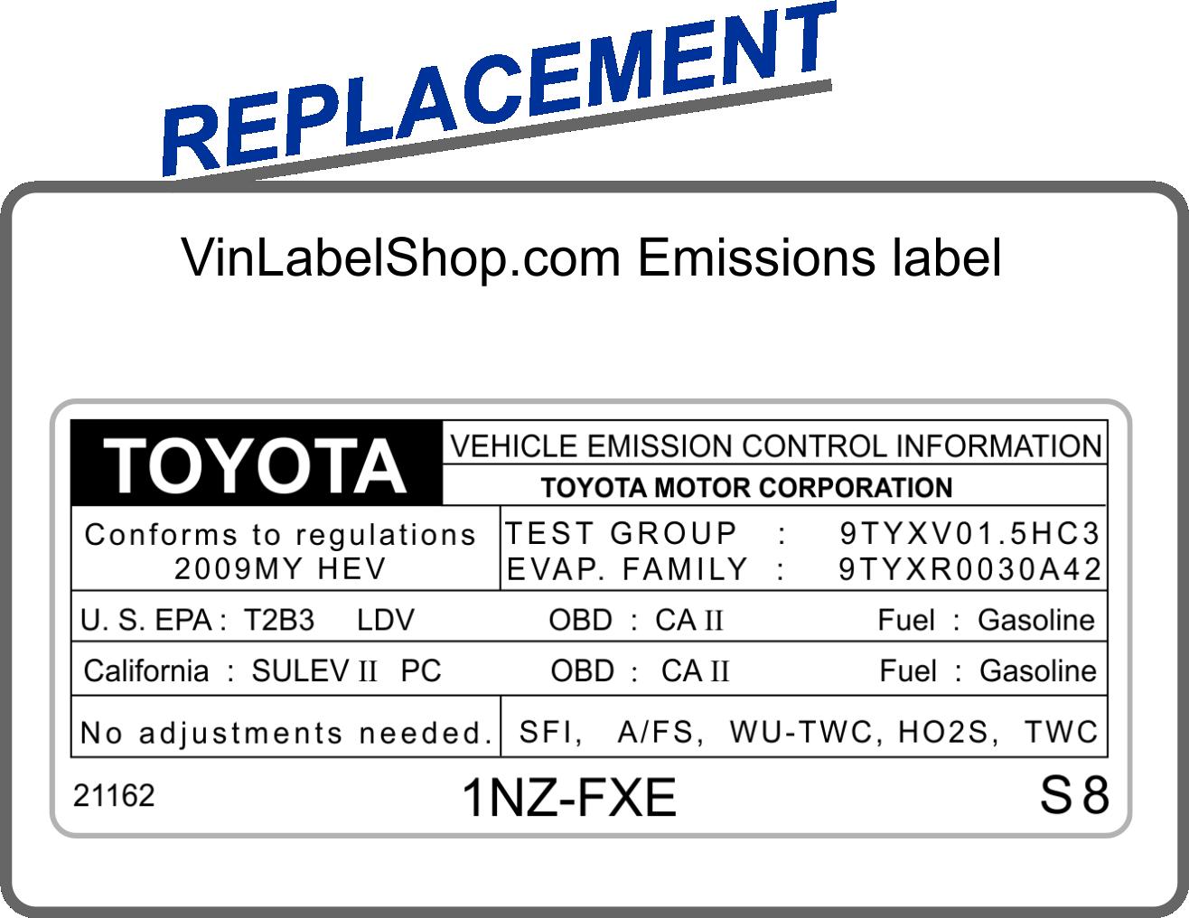 Replacement emission vin label