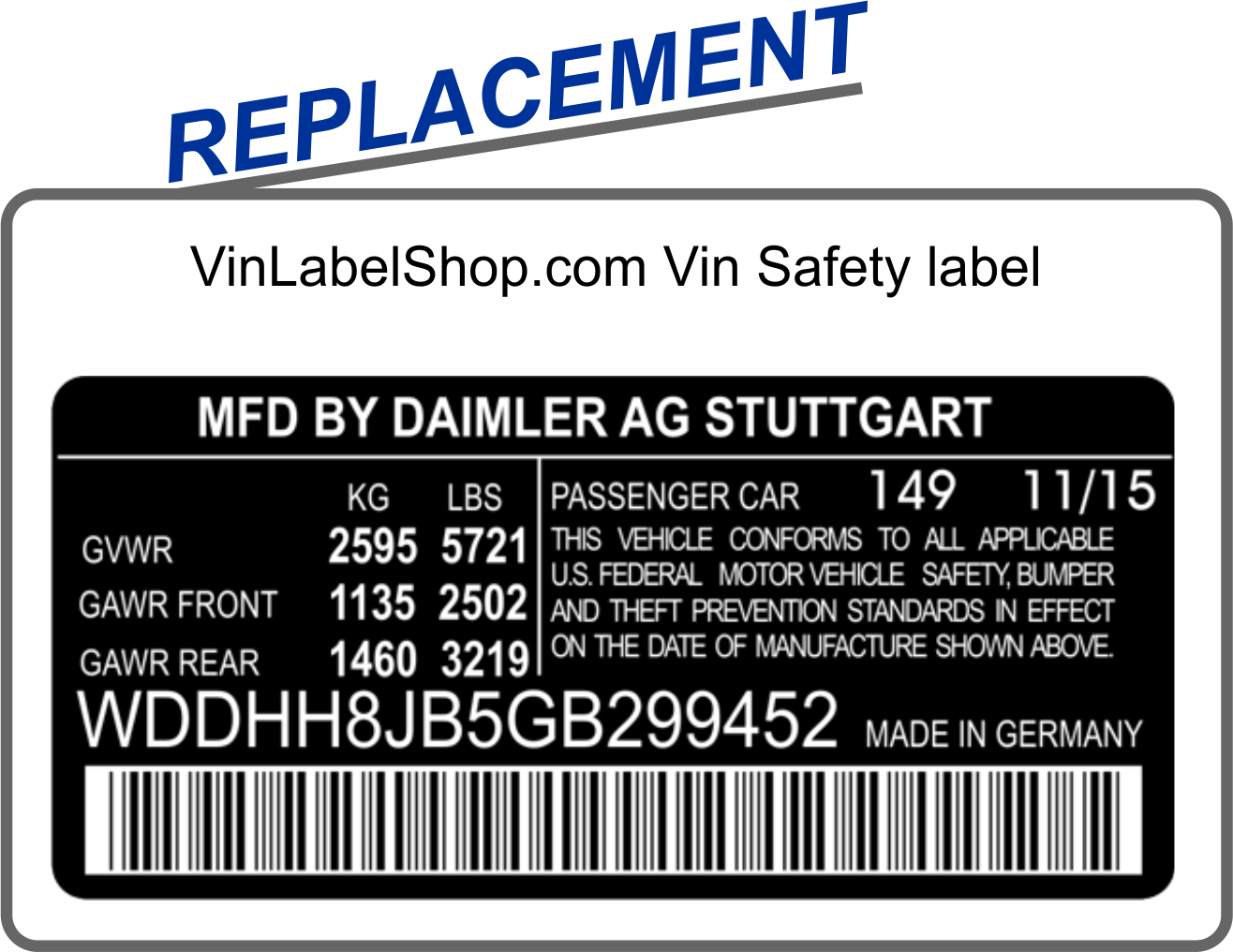 Replacement vin label for the auto body collision repair industry